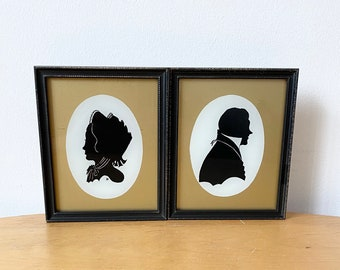 Vintage Silhouette Portraits of Man and Woman