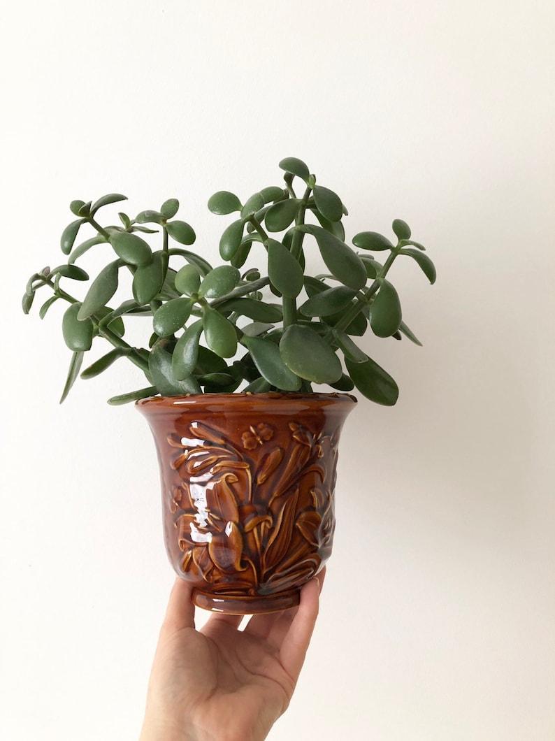 Plant Pot Portmerion Vintage Planter Vintage Brown Glazed Ceramic Planter Retro Planter from the 70s