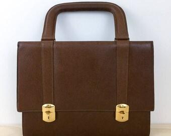 Vintage 70 s Men s brown leather attache, top handle briefcase with gold  clasps, expandable leather attache bag, men s carry bag 47727a25c3