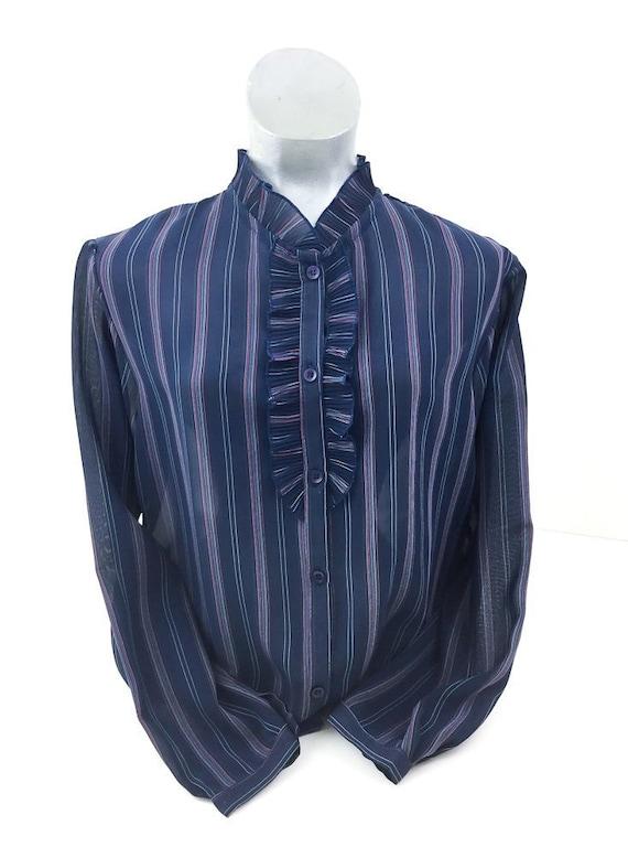 Vintage 70's Navy Striped Ruffle Lightweight Shirt