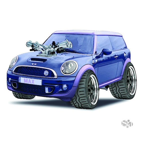Mini Cooper Car >> Mini Cooper Clubman Muscle Car Illustration