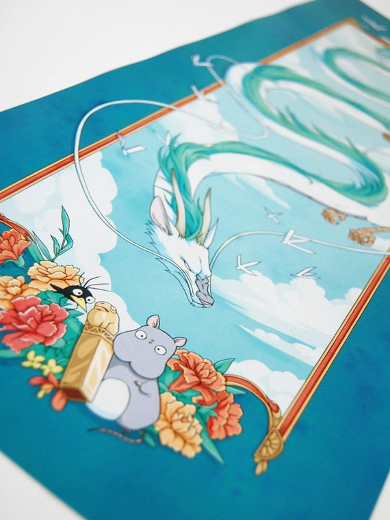 Spirited Away Haku And The Golden Seal 8 X 22 Inch Print Etsy