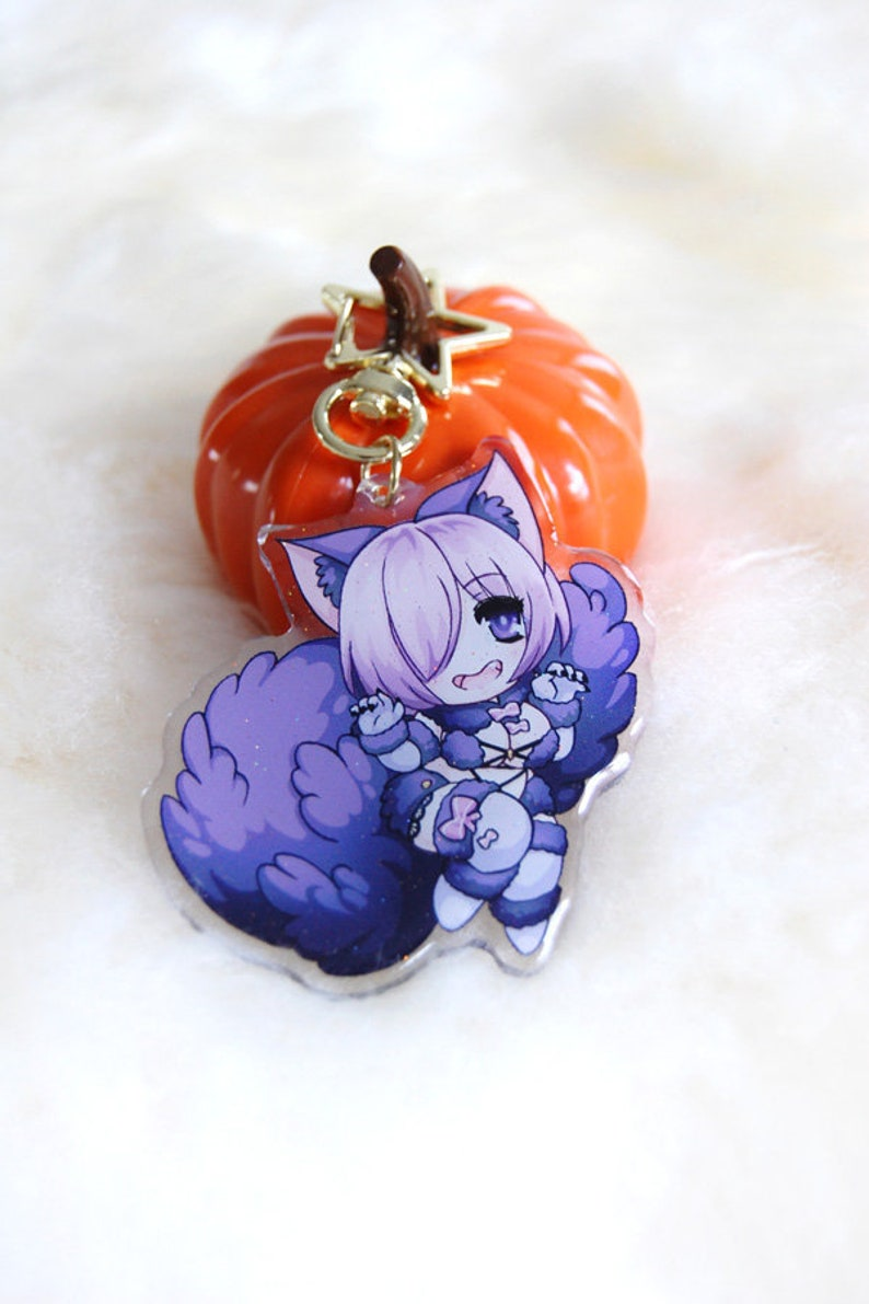 Fate Grand Order Mash Kryielight Keychain FGO Arcylic Glitter image 0