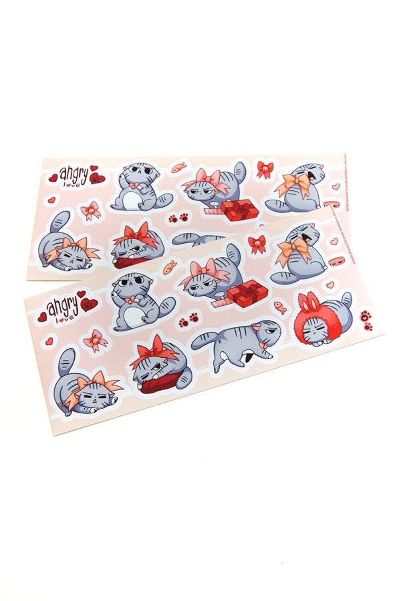 Angry Cat Sticker Sheet Gifts for Cat Lovers Animal Lover image 0
