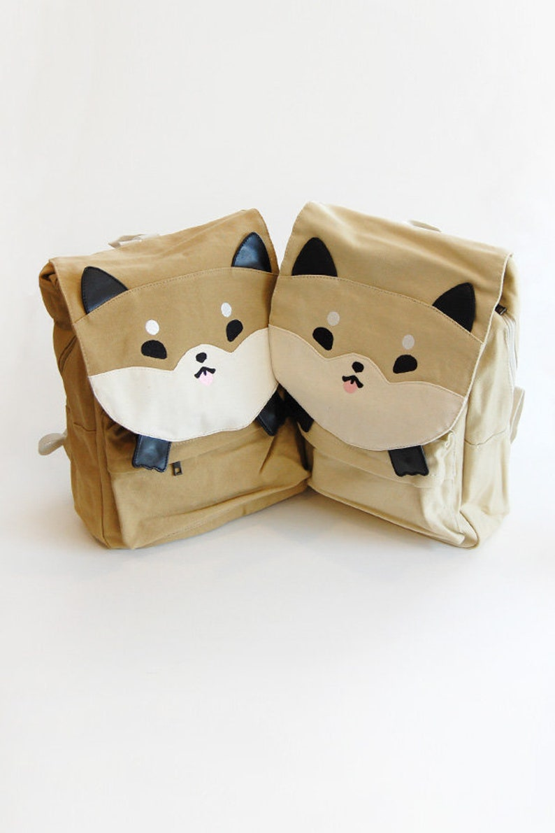 Shiba Inu Backpack Dog Backpack Cream Bag Tan Bag Backpack image 0