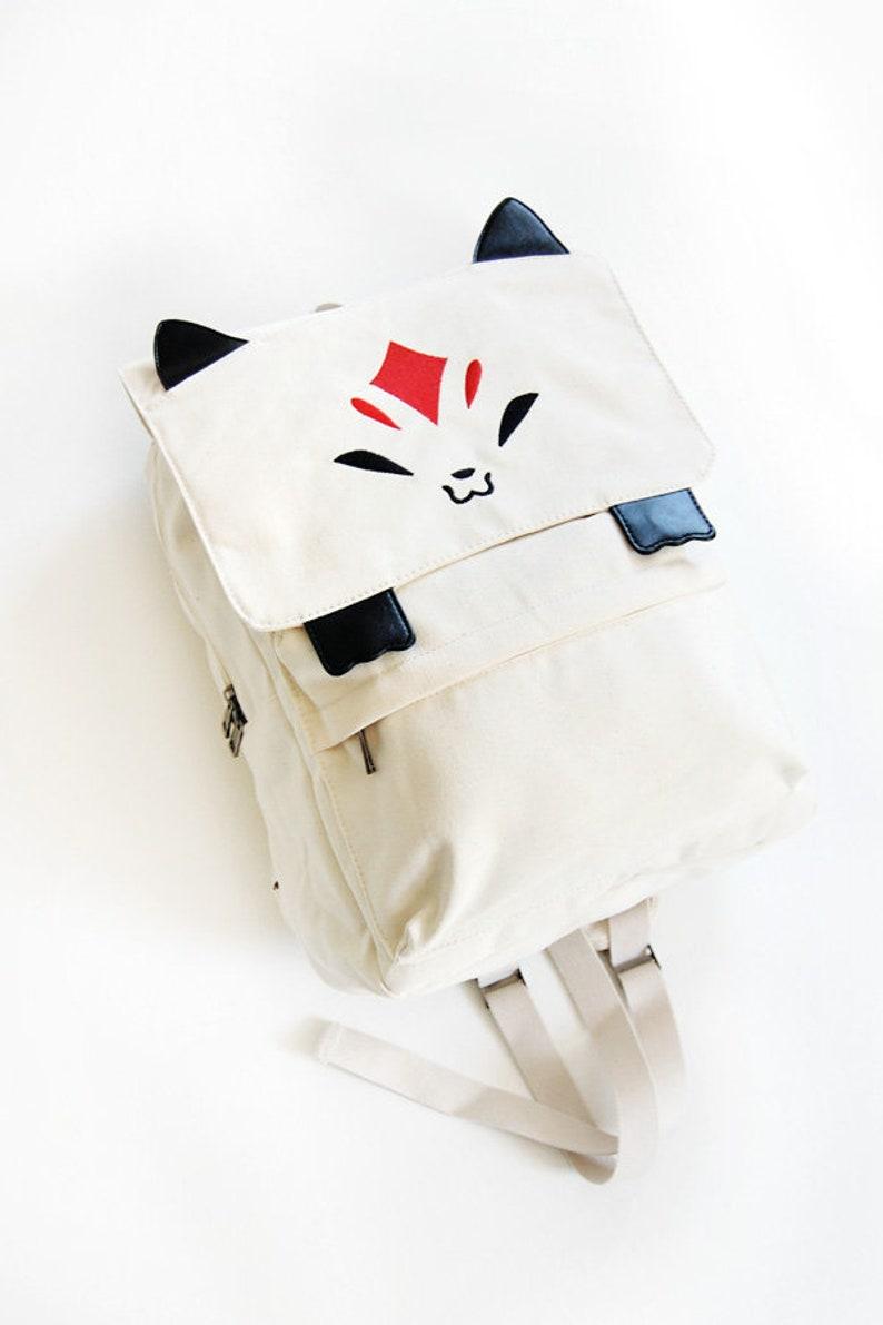 Kitsune Backpack Fox Backpack Cute Fashion School bag image 0