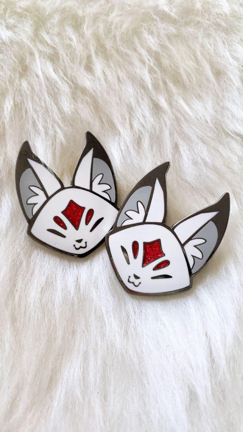 Fox Enamel Pin Kitsune Enamel Pin Cute Pin Glitter Pin image 0