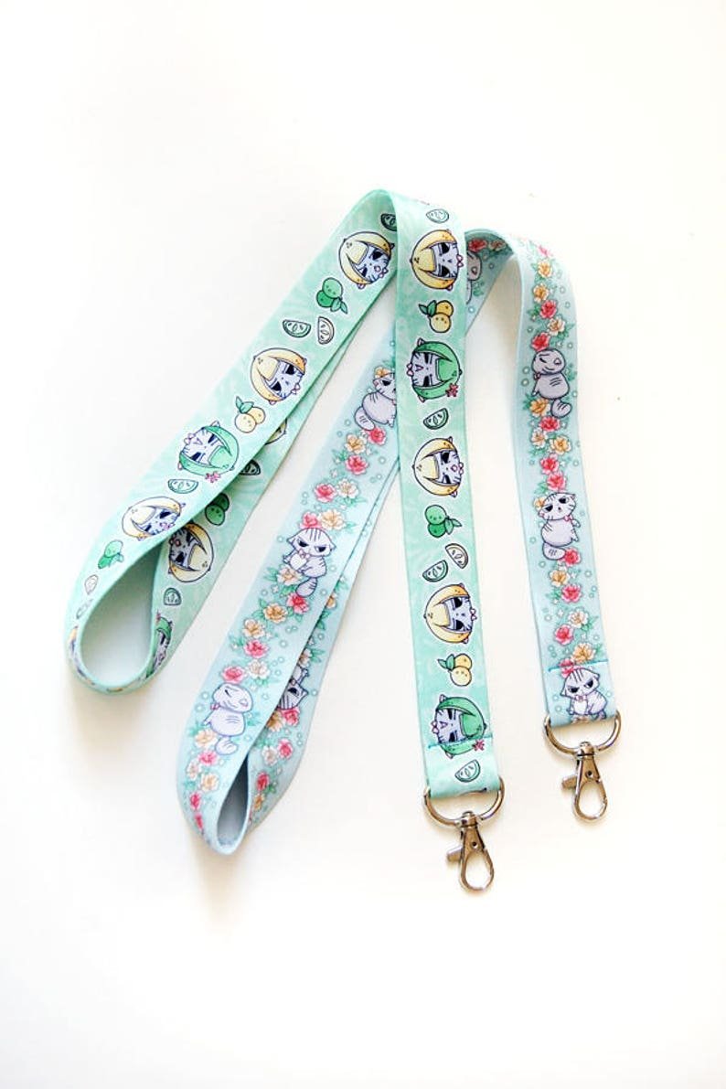 Angry Cat Floral and Melon Lanyard image 0