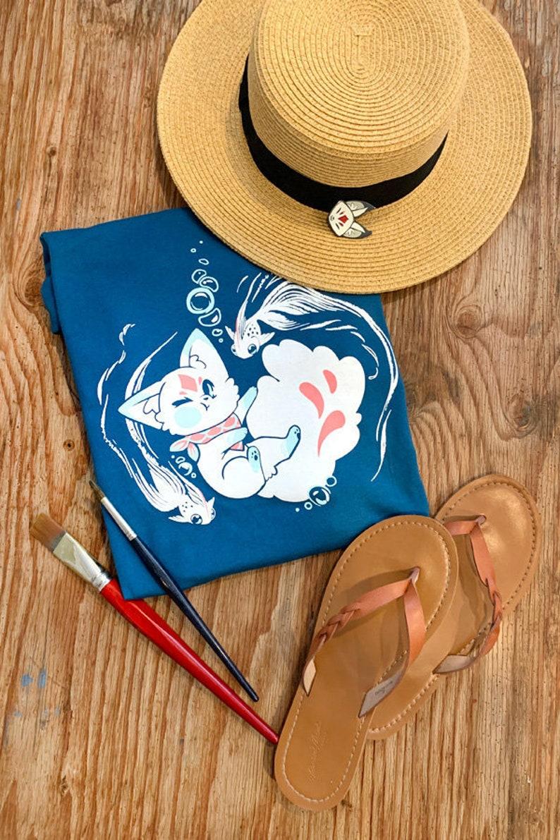 Swimming Queenie Fox Shirt Beach Fox Fish Tee Foxes Gift image 0