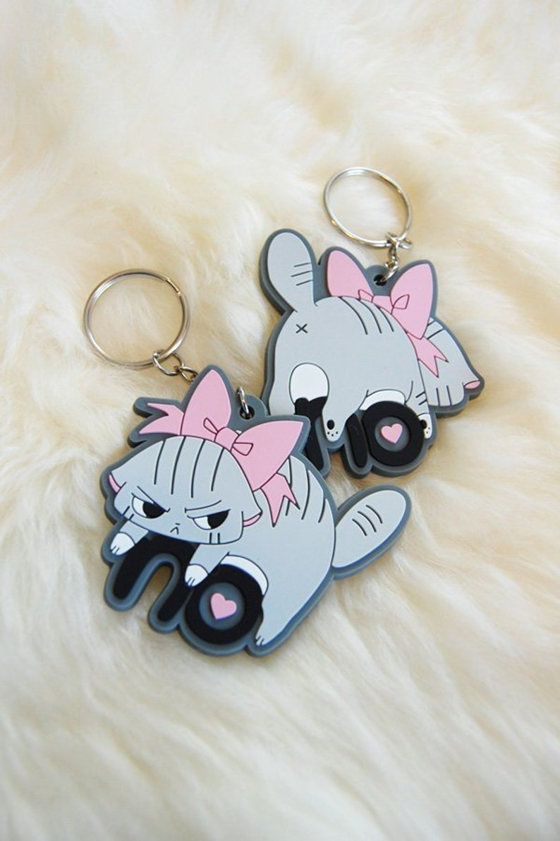 Angry Cat Rubber Keychain Rubber Key holder for Cat Lovers image 0