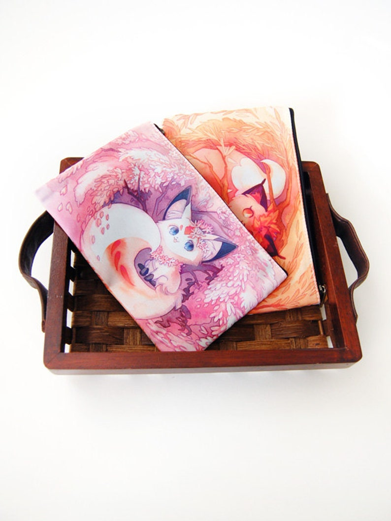 Autumn Spring Fox Kitsune Zipper Bag image 0