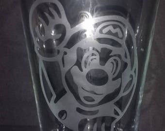 mario etched pub glass