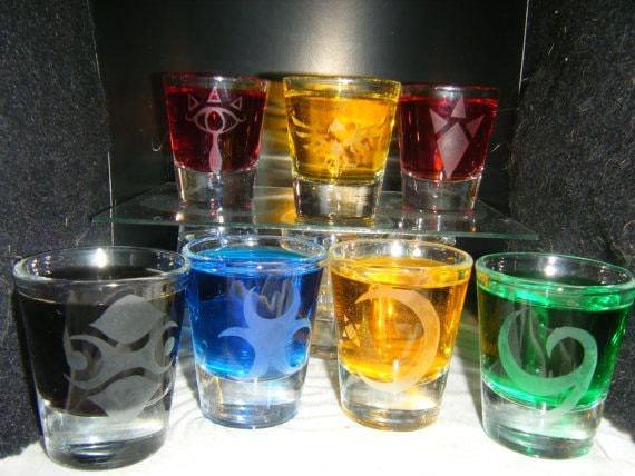 Zelda races etched shot glass set of 7 fan art