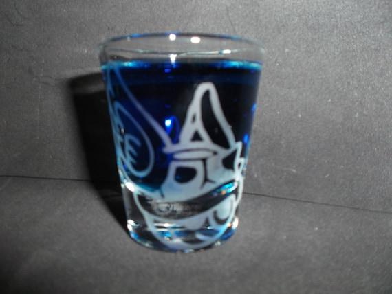 Blue turtle shell etched shot glass fan art