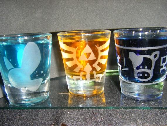 Legend of Zelda etched shot glass set of 3 fan art