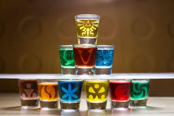 Legend of Zelda etched shot glass set of 10 fan art