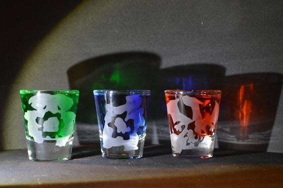 Pokemon evolution starter etched shot glass set of 3 fan art