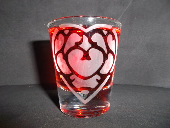 Zelda Heart Container Etched shot glass Fan Art