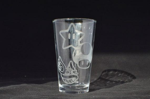 mario kart etched pub glass
