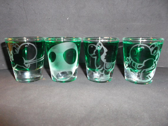 4 Yoshi Etched shot glasses
