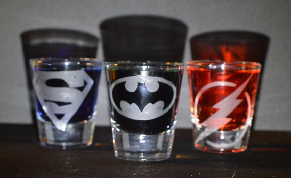 Super heroes etched shot glass set of 3 fan art
