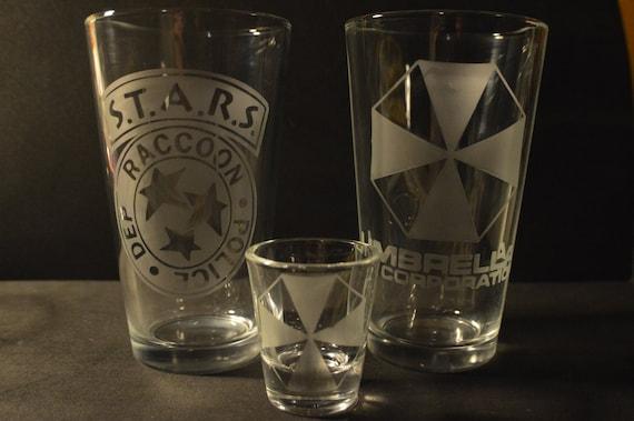 STARS and Umbrella resident evil pub glass set of 2 plus shot