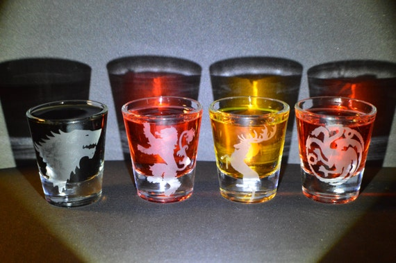 Game of Thrones etched shot glass set of 4 fan art