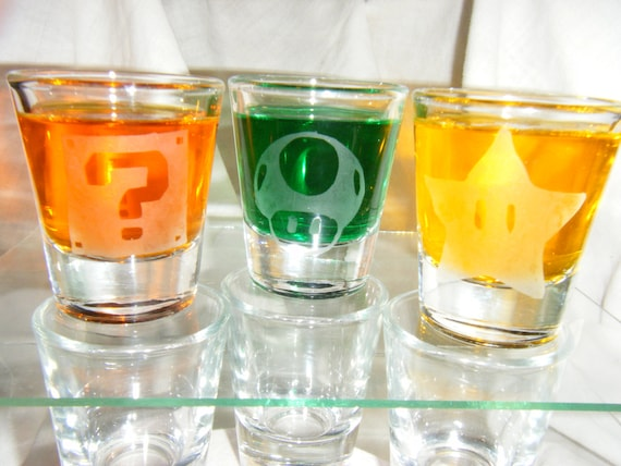 Mario power ups etched shot glass set of 3 fan art