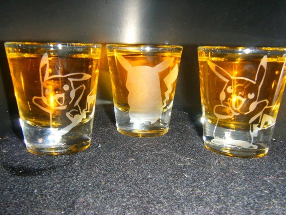 Pokemon Pikachu etched shot glass set of 3 fan art