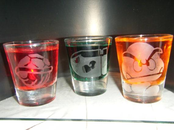 Mario bad guys etched shot glass set of 3 fan art