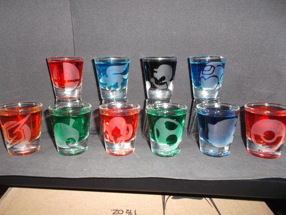 Any Smash Bro's logo etched shot glass (One shot glass)