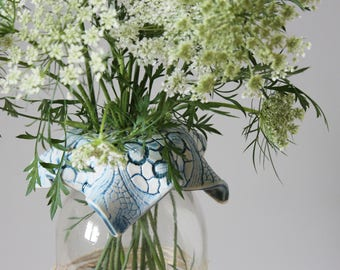 Ceramic Flower Tops, Frog Vase, Mason Jar Vase, Colleen Deiss Designs, Ceramic Flower Holder, Handmade Mothers Day Gift, Floral Arrangements