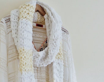 Womens Scarf, Ladies Scarf, Ladies Knitted Scarf, Chenille Scarf, White and cream scarf, Handmade scarf, Handknit scarf, White Scarf  (615)