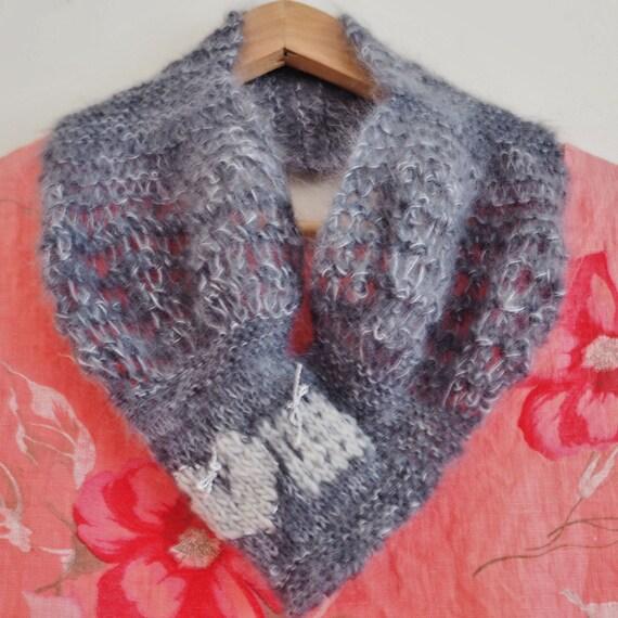 Tour de cou maille mohair gris col cache-, gris gris, cache-cou, foulard  gris, gris col, ... 43a5b3f772c