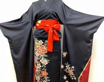 High Quality! Japanese FURISODE Kimono Cleaned Silk Kimono Long Kimono Dress Wedding Kimono 030810