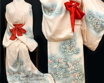 bf793bc27 Japanese Kimono Robe / Silk Kimono Houmongi / Rinzu/ Yuzen/ Kimono Robe/  Kimono Dress/ Wedding Kimono/ 062603