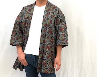 ca7a591d6 Japanese Men's Kimono / Vintage Silk Haori Jacket/ Unused/ Samurai Jacket /  Oshima Tsumugi/ Men's short Kimono/ 062409
