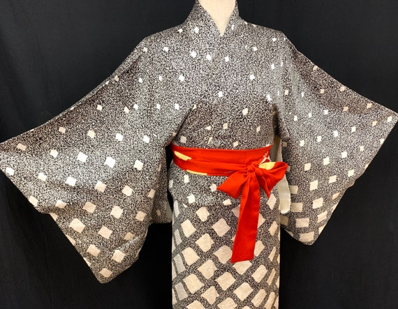 Japanese Silk Kimono Houmongi/ Silk Kimono Dress/