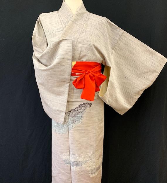 Japanese Silk Kimono Houmongi / TSUMUGI PONGEE/ V… - image 5