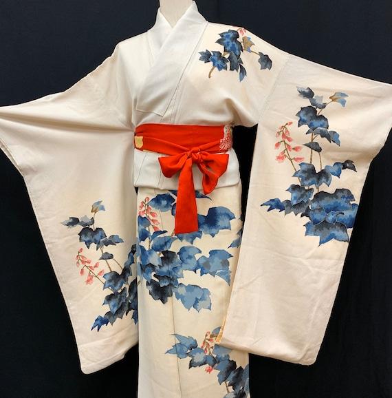 Japanese FURISODE Kimono/ Antique Silk Kimono/ Lon