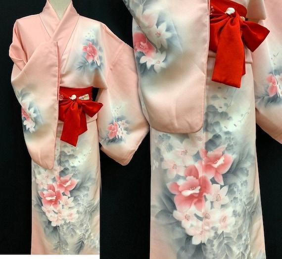 Japanese Silk Kimono Houmongi / Kyoto-Yuzen/ Kimon