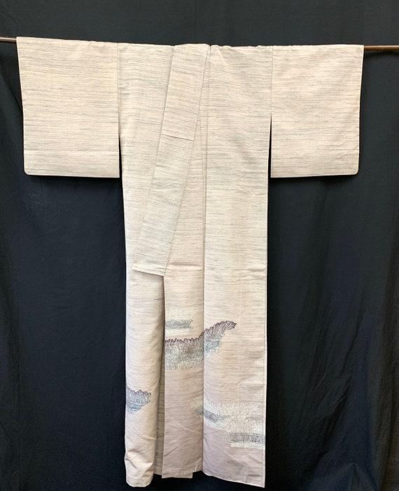 Japanese Silk Kimono Houmongi / TSUMUGI PONGEE/ V… - image 6