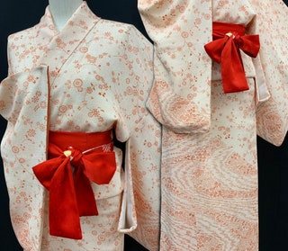 Japanese Kimono  Houmongi Chirimen Vintage Silk Kimono  Wedding Kimono Kimono Dress 080801
