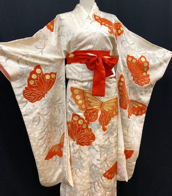 Japanese FURISODE Kimono/ EMBROIDERY/ Silk Kimono/