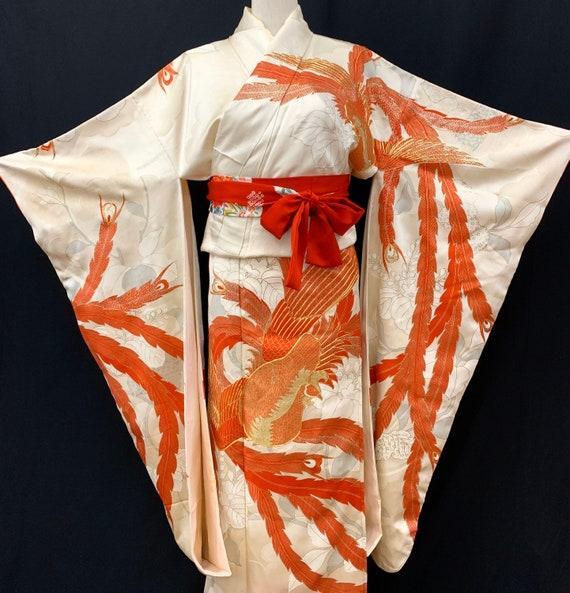Japanese FURISODE Kimono/ Antique Silk Kimono/ Lo… - image 3