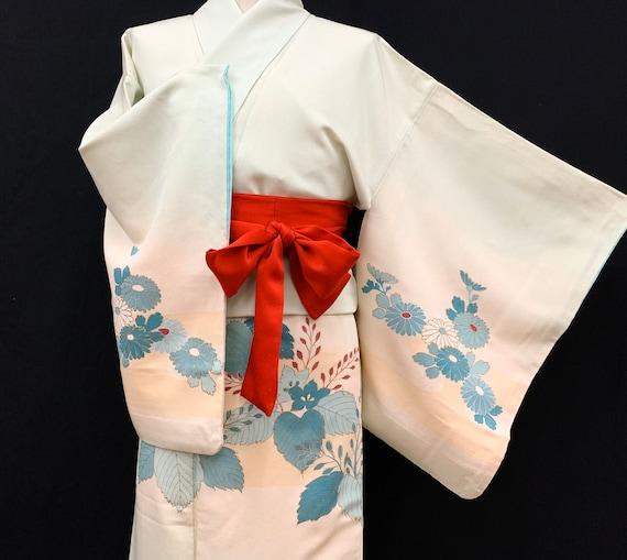 Japanese Silk Kimono Houmongi / Kimono Robe/ Tea C