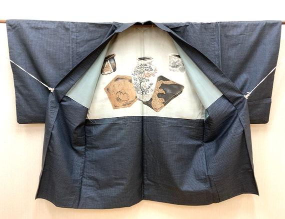 Japanese Men's Haori Jacket/ Oshima Tsumugi Pongee