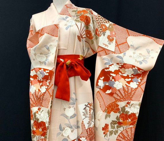 Japanese FURISODE Kimono/ Silk Kimono/ Long Kimono