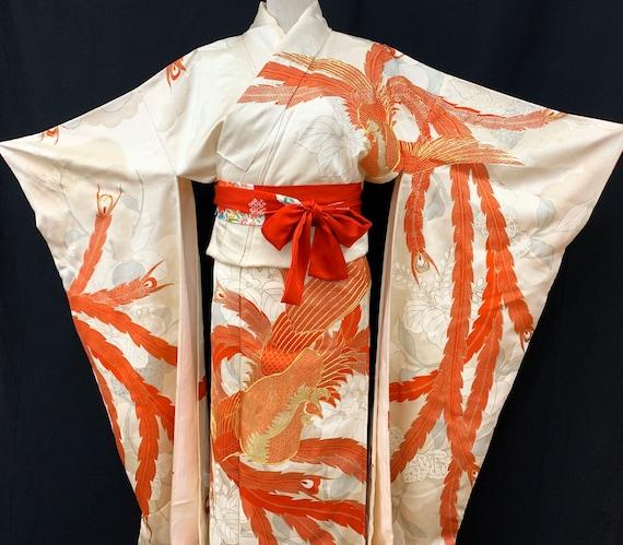 Japanese FURISODE Kimono/ Antique Silk Kimono/ Lo… - image 1