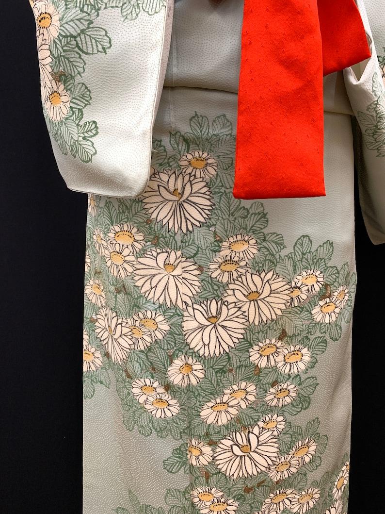 Japanese Vintage Silk Kimono Houmongi Kyoto-Yuzen Kamon Kimono Robe Kimono Dress  120902